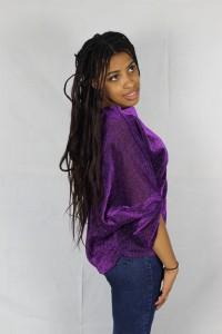 tunique tissu pailleté vue de profil manche drapé