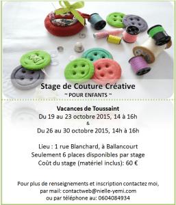 Stage de couture toussaint 2015