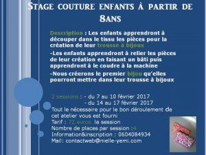 Inscrivez votre enfant à l'atelier de couture prévu au mois de février 2017